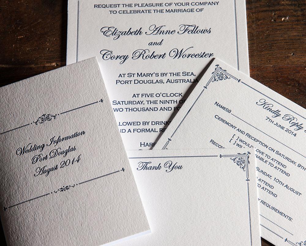 Canberra wedding invitations - Artforme Letterpress Studio