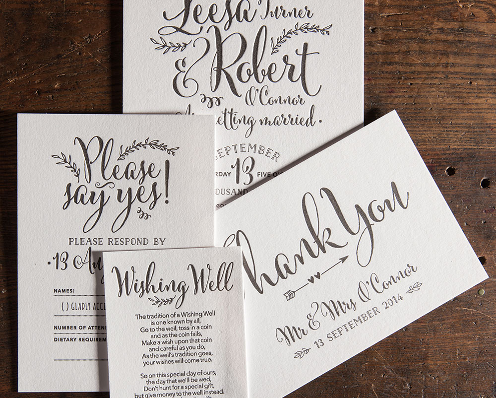 Canberra letterpress wedding invitations - Artforme Letterpress Studio