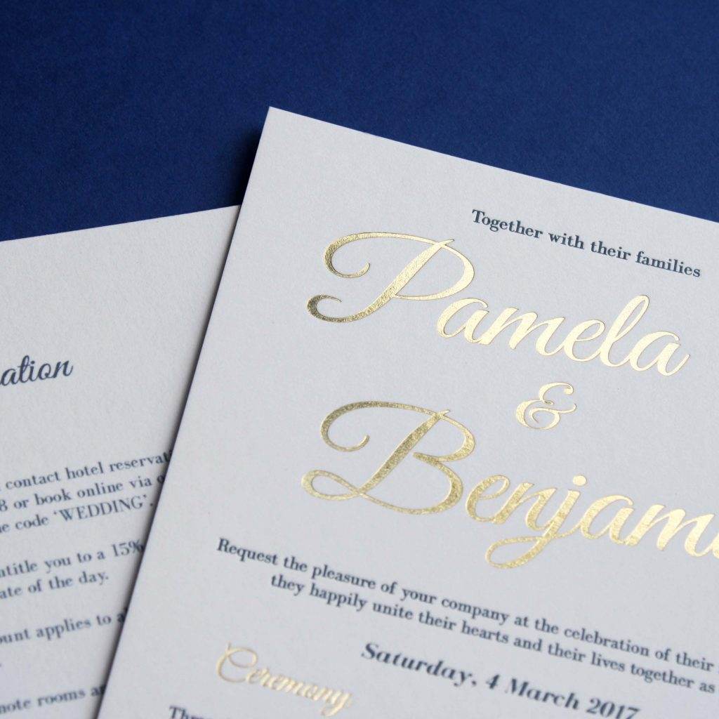 Letterpress printed and gold foiled wedding invitation